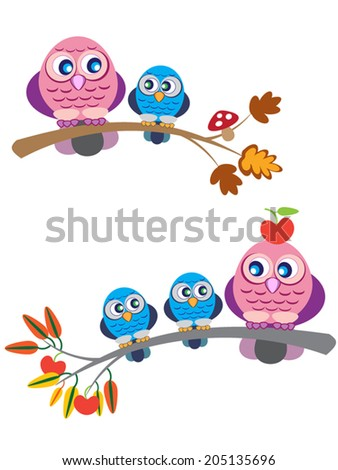 Cute owl family, mother and children, sitting on branch with apples and mushroom, autumn seasons. Cartoon vector illustration, isolated. May be used for a print, invitation, or whatever you like.