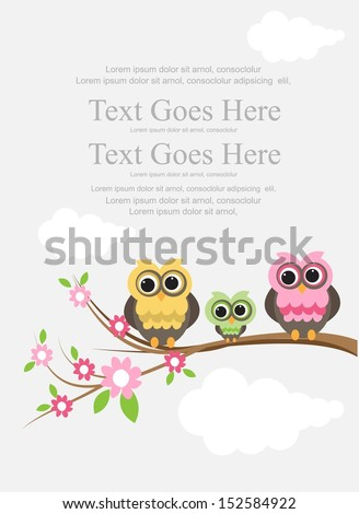 cute owl family on a branch - stock vector