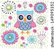 Cute owl floral garden - stock vector