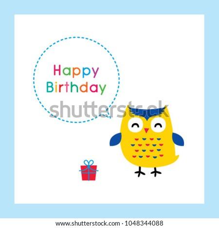 Cute Owl Happy Birthday Greeting Card Stock Vector 1048344088
