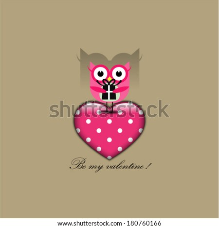 Cute owl holding a big heart. Valentine's day postcard. Vector illustration - stock vector
