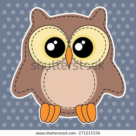 Cute owl label on dotted blue background (available as bitmap too) - stock vector