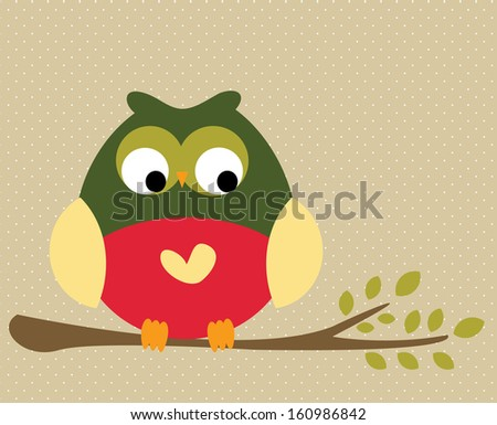 Cute owl on a tree branch - stock vector