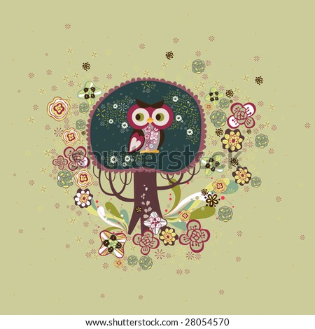 Cute Owl Logo Cute Owl on a Tree Design
