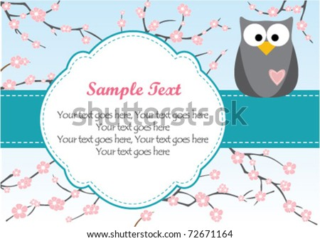 Cute Owl on Branch - stock vector