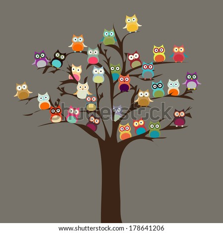 Cute Owl on Tree | Vector Background - stock vector