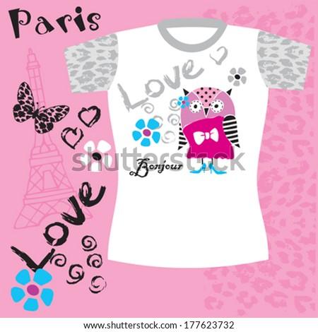 cute owl, Paris, girl tshirt design, kids fashion vector illustration - stock vector