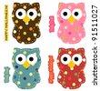 Cute Owl Set - stock vector