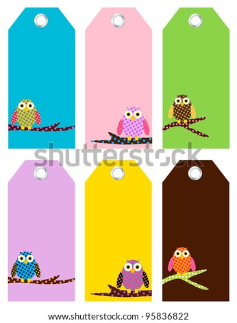 Cute Owl Tags - stock vector
