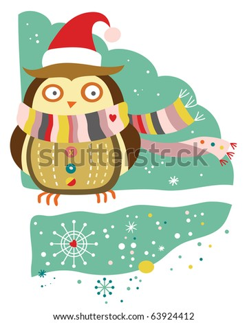 Cute owl wearing winter accessories in a snow covered landscape. - stock vector