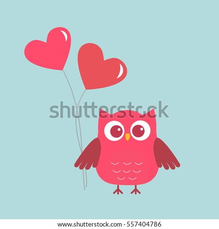 Cute owl with pink Hearts-balloons. Card for Valentine day. Vector illustration