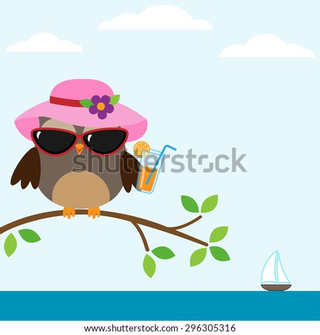 Cute owl with sunglasses sitting on the tree near the sea - stock vector