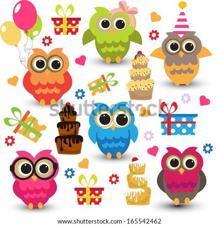 cute owls birthday elements - stock vector
