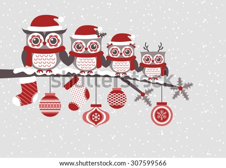 cute owls christmas seasonal illustration - stock vector