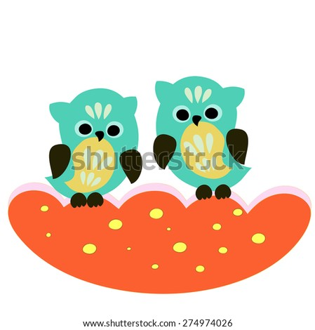 cute owls couple isolated on white background - stock vector