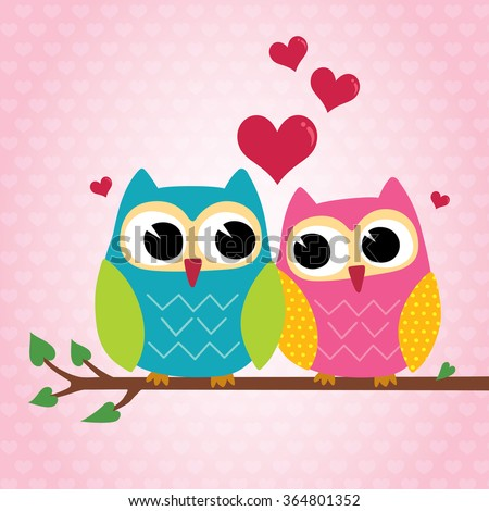 cute owls couple sitting on a branch - stock vector
