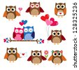 Cute owls for Valentine day. Vector set - stock vector