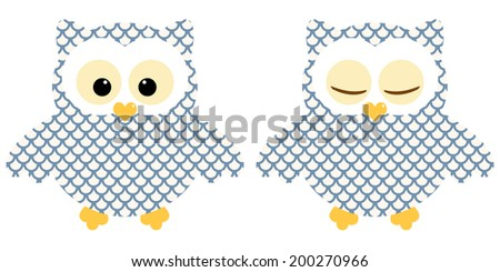Cute owls. Illustration of pair of blue owls with circle pattern. Sleeping and not sleeping owls. Vector image  - stock vector