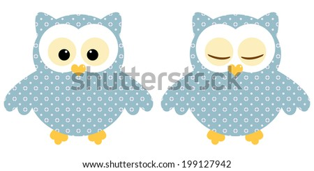 Cute owls. Illustration of pair of blue owls with flower pattern. Sleeping and not sleeping owls. Vector image  - stock vector
