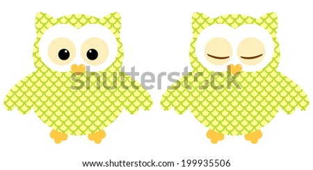 Cute owls. Illustration of pair of yellow-green owls with circle pattern. Sleeping and not sleeping owls. Vector image  - stock vector