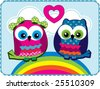 Cute Owls in love vector graphic - stock vector
