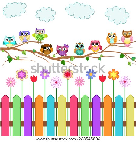 Cute Owls on a Branch - stock vector