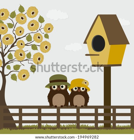 Cute owls on a fence with birdhouse and tree - stock vector