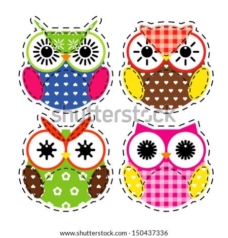 Cute owls set - stock vector