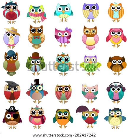 Cute Owls Set Vector - stock vector