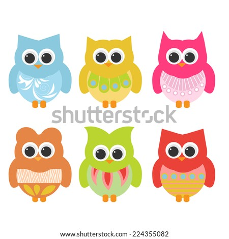 Cute Owls. vector