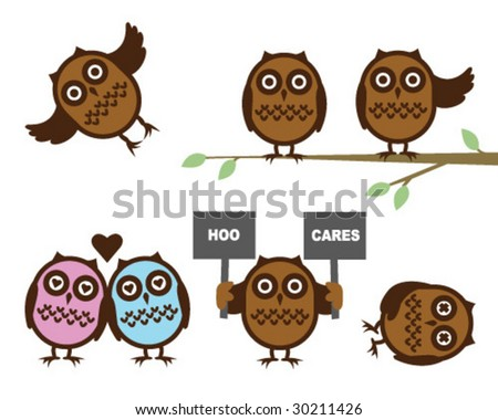 Cute Owls - Vector Illustrations - stock vector