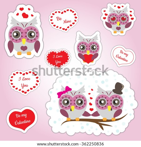 Cute owls with love