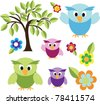 cute owls with trees and flower - stock photo