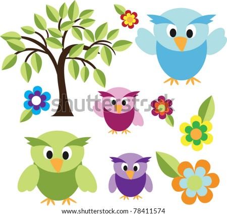 cute owls with trees and flower - stock vector