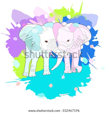 cute pair of elephants, illustration with splash watercolor textured background. Abstract sketch couple of elephants for fashion print, poster for textiles, fashion design. Love,, valentine - stock vector