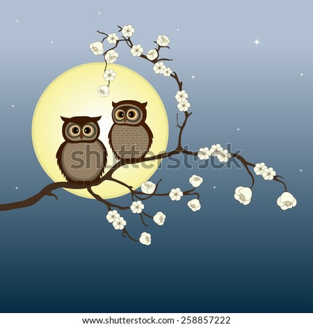 Cute pair of owls on branch  - stock vector