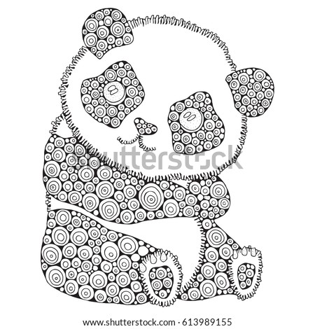Cute Panda Adult Antistress Coloring Book Stock Vector (Royalty Free ...