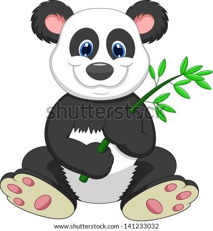 Cute panda cartoon eating bamboo - stock vector