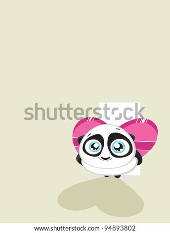 Cute  panda hiding heart shaped gift box with copy space Vector eps8 - stock vector