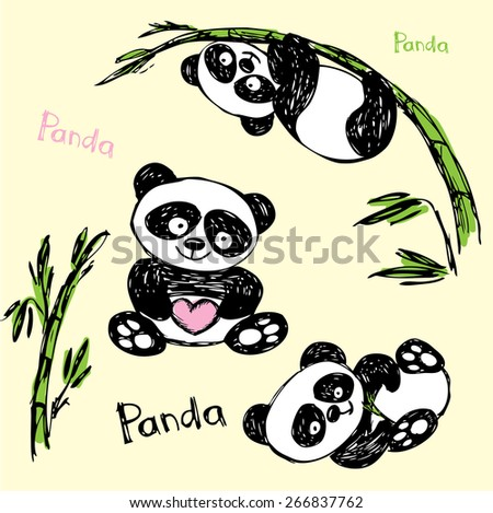 Cute Panda in different poses, hand drawing, vector - stock vector