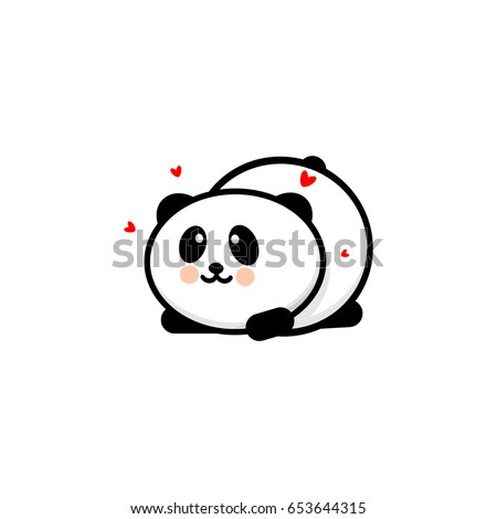 Cute Panda In Love And Played Vector Illustration Baby Bear Logo New Design Line