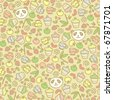 Cute panda seamless pattern, vector doodle illustration. - stock vector