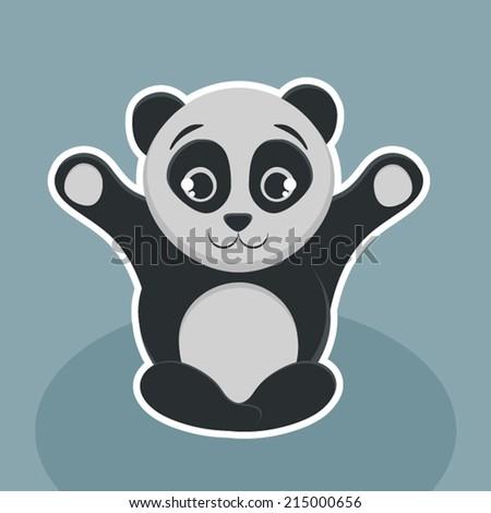 Cute panda vector. - stock vector