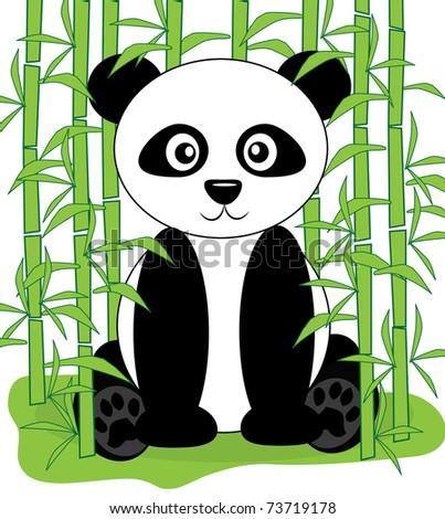 cute panda vector - stock vector
