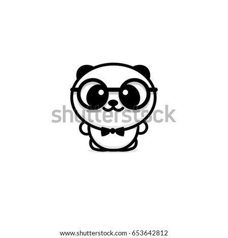 Cute Panda With Glasses And Butterfly Vector Illustration Baby Bear Logo New Design Line