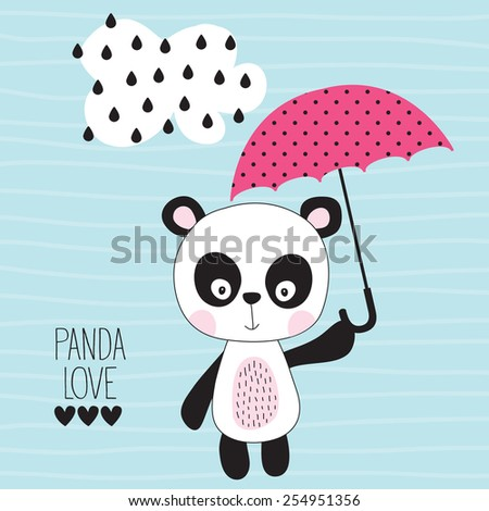 cute panda with umbrella vector illustration - stock vector