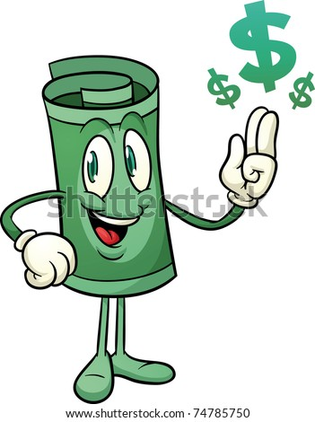 Cute paper money character. Vector illustration with simple gradients. All elements in two layers for easy editing. - stock vector