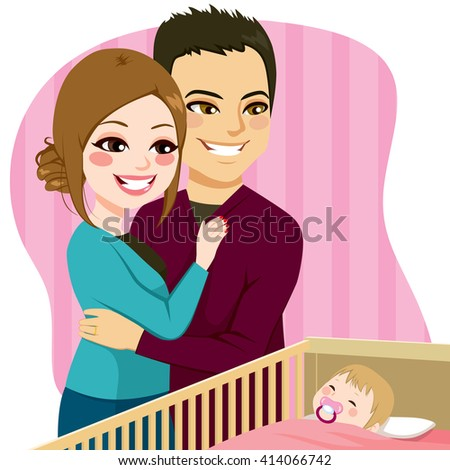 Cute parents couple watching little baby sleeping peacefully in crib with pacifier - stock vector