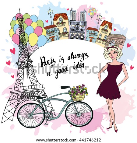 Cute Paris Landscape Card - stock vector