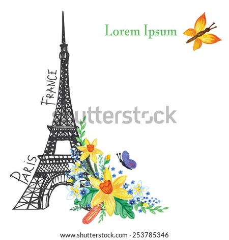 Cute Paris spring  Card.Eiffel tower,watercolor spring flowers.Hand drawn doodle sketchy,watercolor decor.Room for text.Vintage Vector background - stock vector